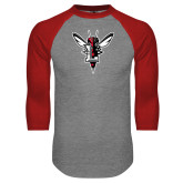 Grey/Red Raglan Baseball T Shirt-Hornet Bevel L