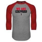 Grey/Red Raglan Baseball T Shirt-We Are Lynchburg