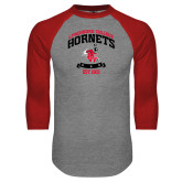 Grey/Red Raglan Baseball T Shirt-Lynchburg College Hornets