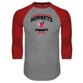 Grey/Red Raglan Baseball T Shirt-Lynchburg College Hornets