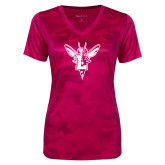 Ladies Pink Raspberry Camohex Performance Tee-Hornet Bevel L