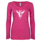 ENZA Ladies Hot Pink Long Sleeve V Neck Tee-Hornet Bevel L