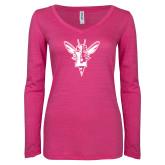 ENZA Ladies Hot Pink Long Sleeve V Neck Tee-Hornet Bevel L