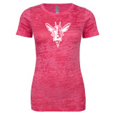 Next Level Ladies Junior Fit Fuchsia Burnout Tee-Hornet Bevel L