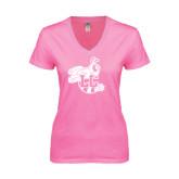 Next Level Ladies Junior Fit Deep V Pink Tee-Hornet