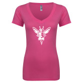 Next Level Ladies Junior Fit Deep V Pink Tee-Hornet Bevel L