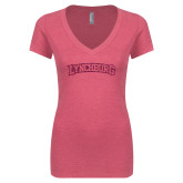 Next Level Ladies Vintage Pink Tri Blend V Neck Tee-Arched Lynchburg Hot Pink Glitter