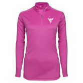 Ladies Syntrel Interlock Raspberry 1/4 Zip-Hornet Bevel L