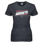 Ladies Dark Heather T Shirt-Lynchburg College Hornets Stencil