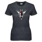 Ladies Dark Heather T Shirt-Hornet Bevel L