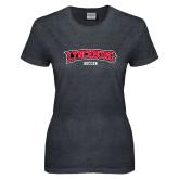 Ladies Dark Heather T Shirt-Soccer