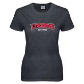 Ladies Dark Heather T Shirt-Lacrosse