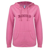ENZA Ladies Hot Pink V Notch Raw Edge Fleece Hoodie-Arched Lynchburg Hot Pink Glitter