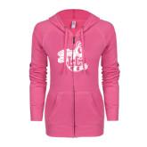 ENZA Ladies Hot Pink Light Weight Fleece Full Zip Hoodie-Hornet