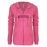 ENZA Ladies Hot Pink Light Weight Fleece Full Zip Hoodie-Arched Lynchburg Hot Pink Glitter