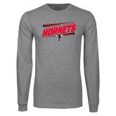 Grey Long Sleeve T Shirt-Lynchburg College Hornets Stencil