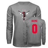 Grey Long Sleeve T Shirt-Hornet Bevel L, Custom Tee w/ Name and #