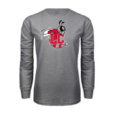 Grey Long Sleeve T Shirt-Hornet Distressed