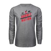 Grey Long Sleeve T Shirt-Hornet Nation