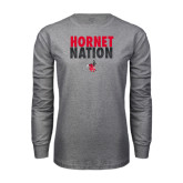Grey Long Sleeve T Shirt-Hornet Nation Stacked