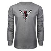 Grey Long Sleeve T Shirt-Hornet Bevel L