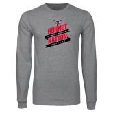 Grey Long Sleeve T Shirt-Hornet Nation Slanted Banners