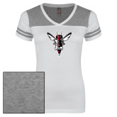 Ladies White/Heathered Grey Juniors Varsity V Neck Tee-Hornet Bevel L