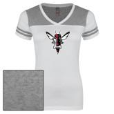 Ladies White/Heathered Grey Juniors Varsity V Neck Tee-Hornet Bevel L