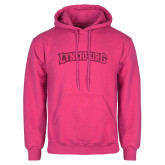 Fuchsia Fleece Hoodie-Arched Lynchburg Hot Pink Glitter