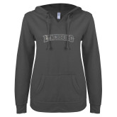 ENZA Ladies Dark Heather V Notch Raw Edge Fleece Hoodie-Arched Lynchburg Silver Soft Glitter