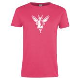 Ladies Fuchsia T Shirt-Hornet Bevel L