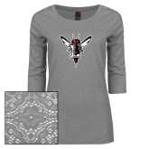 Ladies Grey Heather Lace 3/4 Sleeve Tee-Hornet Bevel L