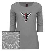 Ladies Grey Heather Lace 3/4 Sleeve Tee-Hornet Bevel L