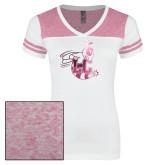 Ladies White/Heathered Pink Juniors Varsity V Neck Tee-Hornet