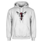 White Fleece Hoodie-Hornet Bevel L