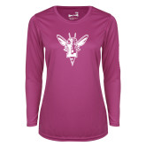 Ladies Syntrel Performance Raspberry Longsleeve Shirt-Hornet Bevel L