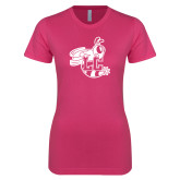 Ladies SoftStyle Junior Fitted Fuchsia Tee-Hornet