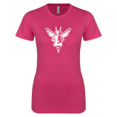 Ladies SoftStyle Junior Fitted Fuchsia Tee-Hornet Bevel L