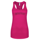 Next Level Ladies Raspberry Ideal Racerback Tank-Arched Lynchburg Hot Pink Glitter
