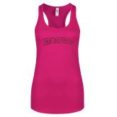 Next Level Ladies Raspberry Ideal Racerback Tank-Arched Lynchburg Hot Pink Glitter