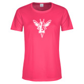 Ladies Performance Hot Pink Tee-Hornet Bevel L