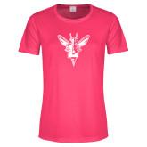 Ladies Performance Hot Pink Tee-Hornet Bevel L