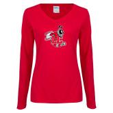 Ladies Red Long Sleeve V Neck T Shirt-Hornet