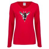 Ladies Red Long Sleeve V Neck T Shirt-Hornet Bevel L