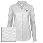 Ladies Red House Diamond Dobby White Long Sleeve Shirt-Hornet Bevel L