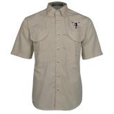 Khaki Short Sleeve Performance Fishing Shirt-Hornet Bevel L
