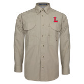 Khaki Long Sleeve Performance Fishing Shirt-L Mark