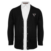 Black V Neck Cardigan w/Pockets-Hornet Bevel L