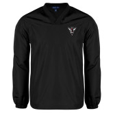V Neck Black Raglan Windshirt-Hornet Bevel L