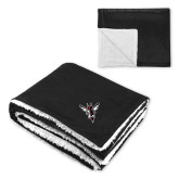 Super Soft Luxurious Black Sherpa Throw Blanket-Hornet Bevel L